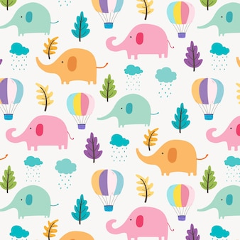 Fond de modèle mignon éléphant pour les enfants.