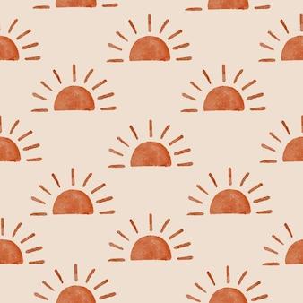 Fond de modèle sans couture organique moderne de forme boho de soleil