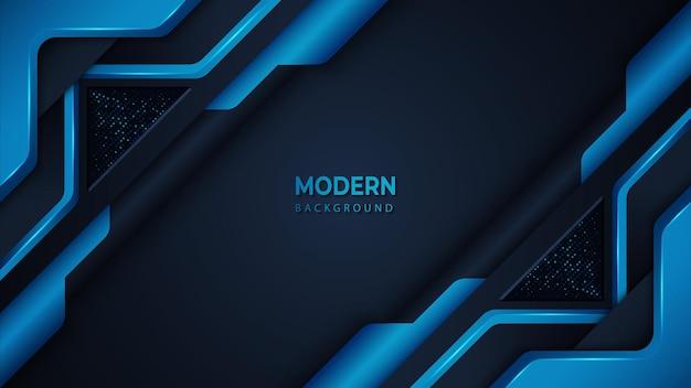 Fond moderne bleu avec des formes métalliques