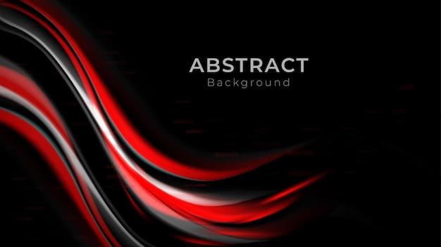 Fond moderne avec chevauchement de vecteur rouge et blanc couche d'onde de courbe sur vecteur gratuit sombre et noir
