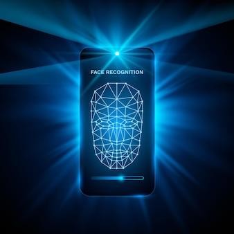 Fond moderne de conception de couleur de couverture de téléphone de reconnaissance de visage. illustration vectorielle