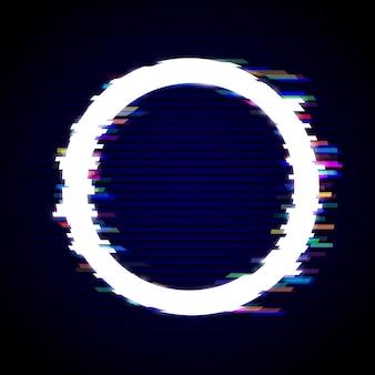 Fond moderne de style glitch déformé. conception de cadre de cercle glitched