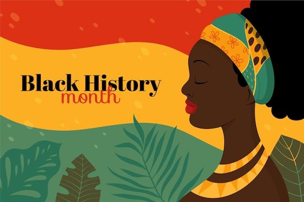 Fond de mois de l'histoire noir plat dessiné à la main