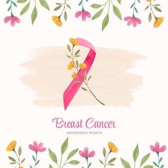 Fond de mois de sensibilisation au cancer du sein aquarelle