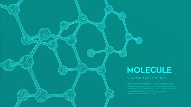 Fond de molécule scientifique 3d.