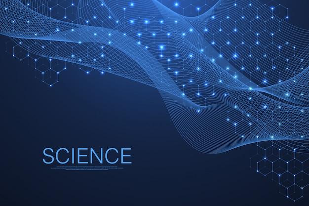 Fond de molécule scientifique adn double hélice avec faible profondeur de champ. mystérieux ou avec une molécule d'adn. modèle d'innovation en soins de santé et en science.