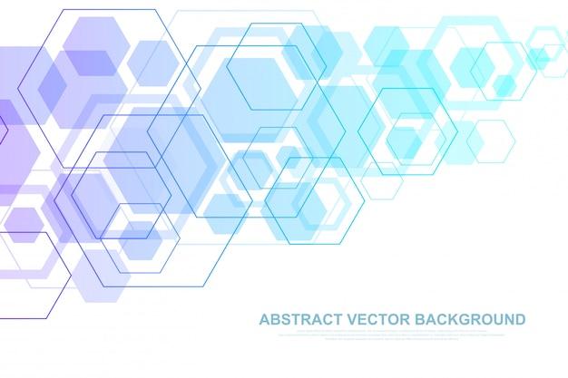 Fond de molécule scientifique pour la médecine, la science, la technologie, la chimie. fond d'écran ou bannière avec une molécule d'adn, adn numérique, séquence, structure de code. illustration dynamique géométrique