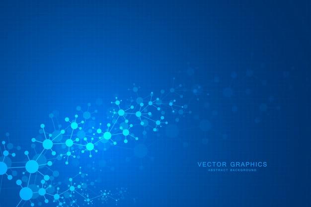 Fond de molécules abstraites, composés génétiques et chimiques