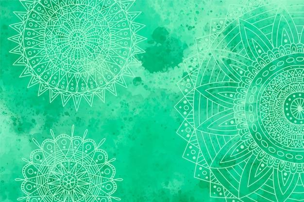 Fond monochromatique à l'aquarelle avec des mandalas