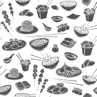 Fond monochrome de cuisine chinoise transparente motif