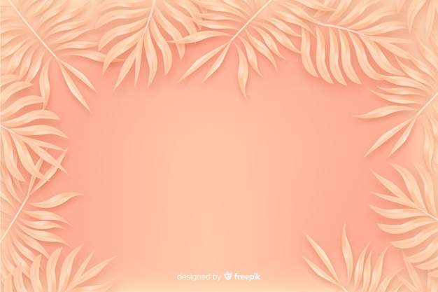 Fond monochrome orange avec des feuilles