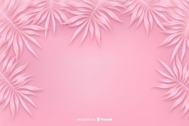Fond monochrome rose avec des feuilles