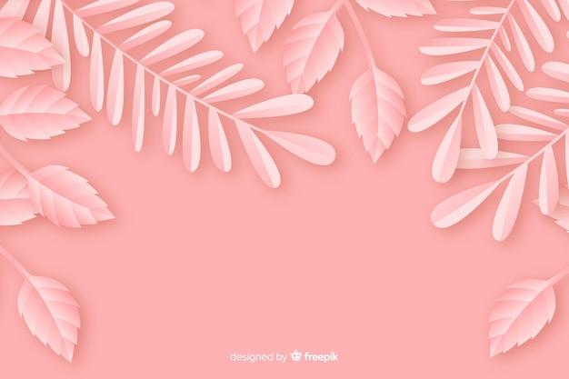 Fond monochrome de style papier avec des feuilles
