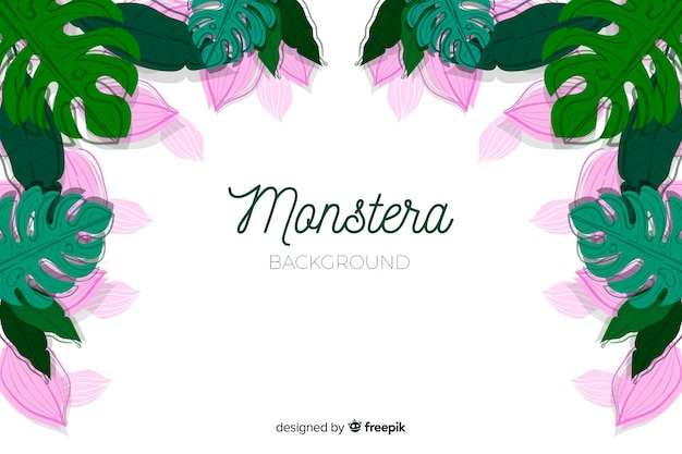 Fond de monstera dessiné à la main