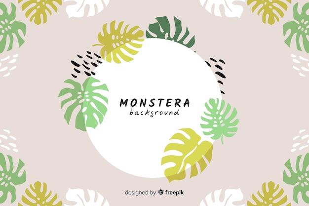 Fond de monstera dessiné à la main