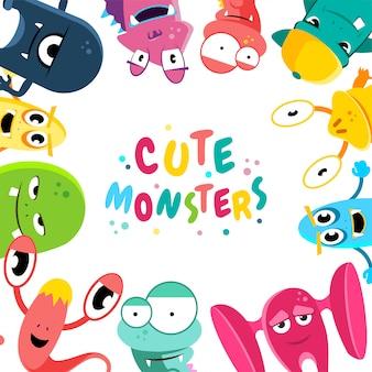 Fond de monstres dessin animé mignon