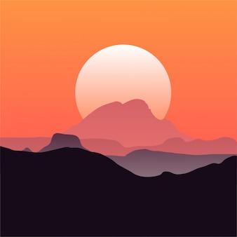 Fond de montagnes au coucher du soleil
