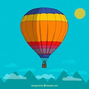 Fond de montgolfière dans le ciel