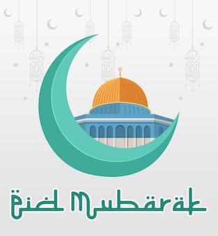 Fond de mosquée de eid mubarak illustration graphique vectorielle