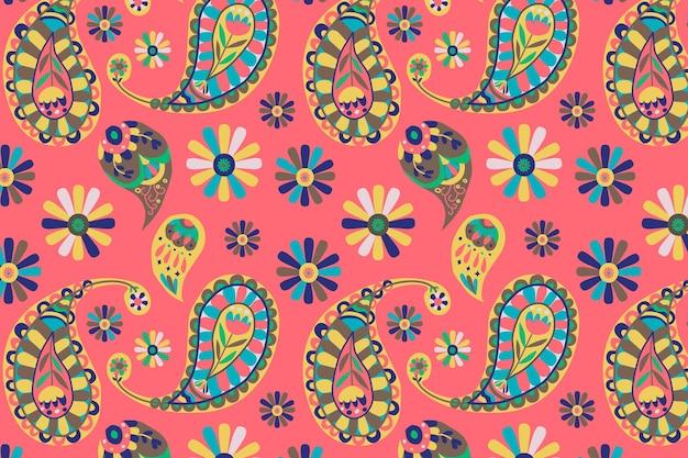 Fond de motif cachemire indien rose vif