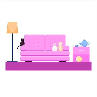 Fond de motif de canapé de dessin animé lumineux pour la conception d'affiches de pépinière de bébé.