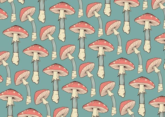 Fond de motif de champignon dessiné à la main