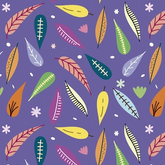 Fond avec motif de feuilles colorées