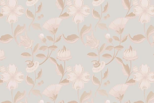Fond de motif floral neutre vintage, remix d'œuvres d'art du domaine public
