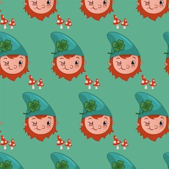 Fond de motif de gnome de personnage de dessin animé illustration vectorielle
