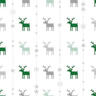Fond de motif de noël sans couture avec le renne, l'étoile et le flocon de neige