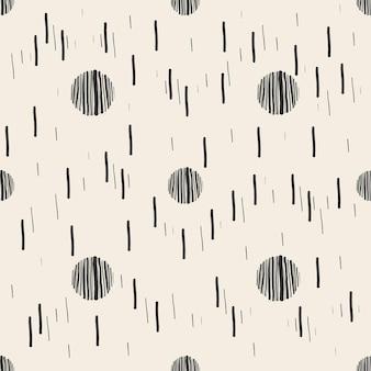 Fond de motif simple sans soudure avec pois et ligne à la main monochrome