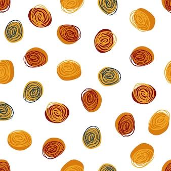 Fond de motif de tissu sans soudure avec des pois de dessin multicolore à la main