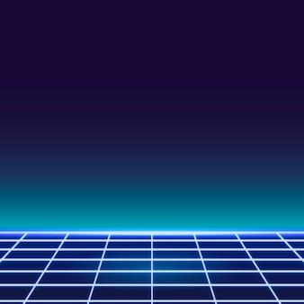 Fond à motifs néon grille bleue