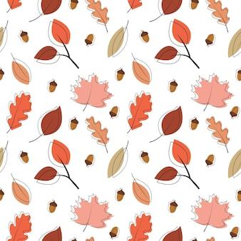 Fond à motifs sans couture avec trait noir et feuilles d'automne colorées
