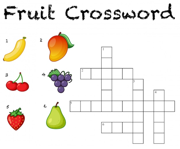 Fond de mots croisés de fruits amusants