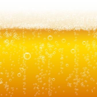 Fond de mousse de bière. lumière vive, bulle et liquide