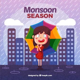 Fond de mousson avec fille et parapluie coloré