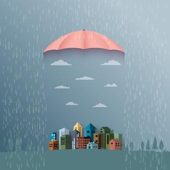 Fond de mousson avec un parapluie protège la ville de la pluie.