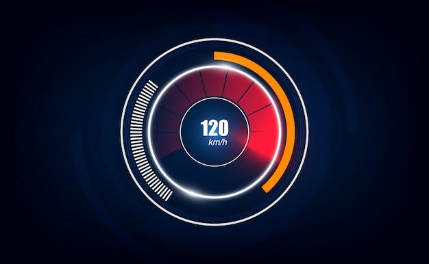 Fond de mouvement de vitesse avec voiture de compteur de vitesse rapide.