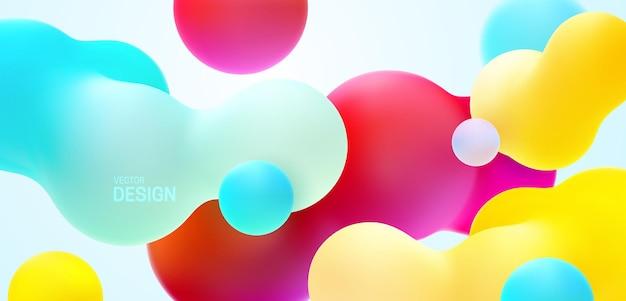 Fond multicolore avec des formes de bulles liquides qui coule