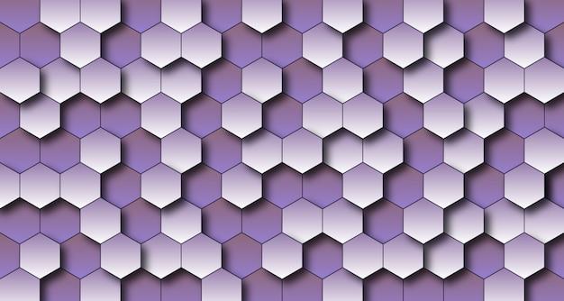 Fond de mur 3d lumineux violet hexagone