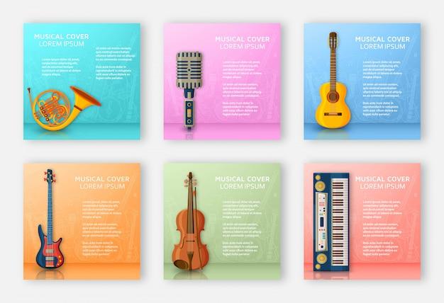 Fond musical composé de différents instruments de musique, clé de sol et notes. place du texte. illustration colorée.