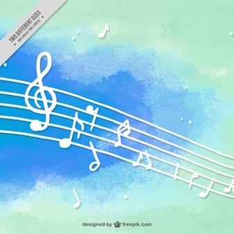 Fond musical dans le style d'aquarelle
