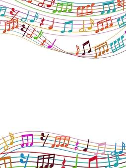 Fond musical avec des notes de musique colorées et des vagues