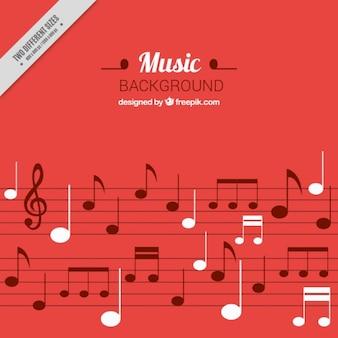 Fond musical rouge avec détails blancs