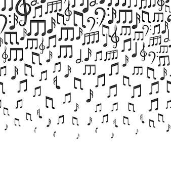 Fond de musique avec des notes de musique en baisse