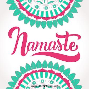 Fond namaste à la main avec mandalas