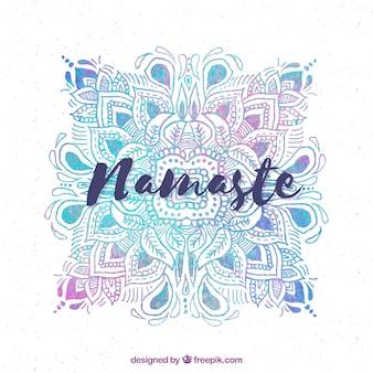 Fond namaste avec mandala aquarelle