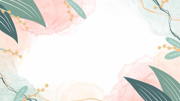 Fond de nature aquarelle avec des feuilles et des taches