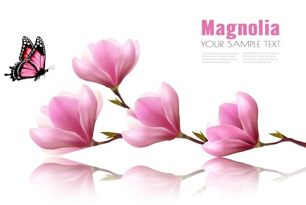 Fond de nature avec branche de fleur de fleurs roses et papillon. vecteur